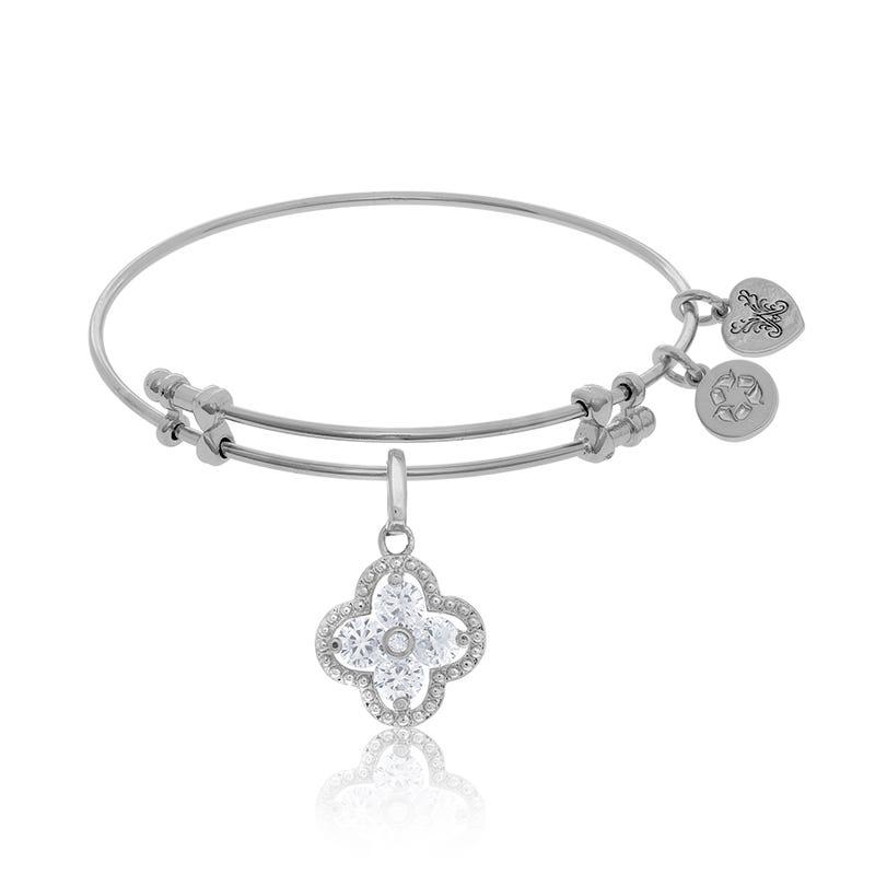 White Crystal Quatrefoil Charm Bangle Bracelet in White Brass