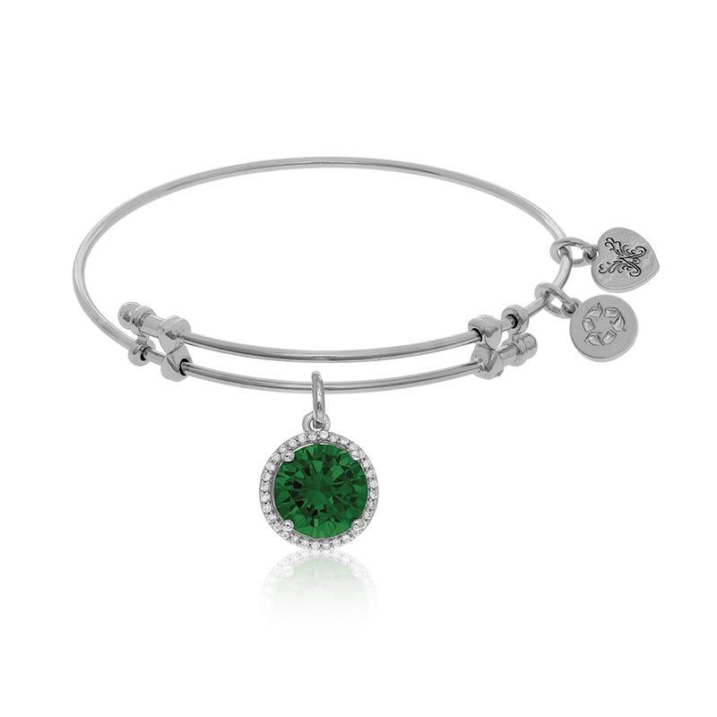 May Birthstone Crystal Charm Bangle Bracelet in White Brass