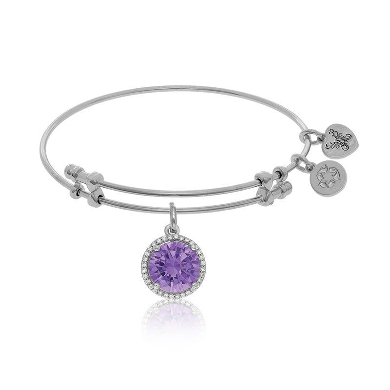 June Birthstone Crystal Charm Bangle Bracelet in White Brass
