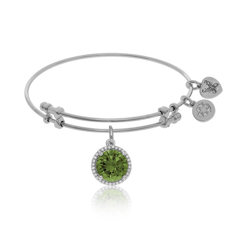 August Birthstone Crystal Charm Bangle Bracelet in White Brass