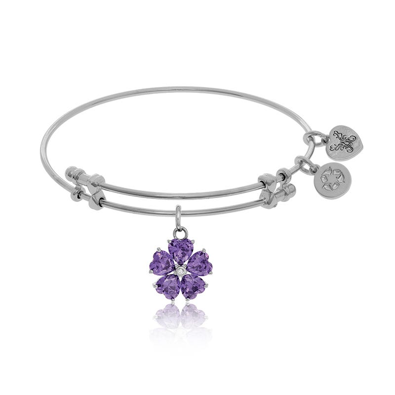 Purple Crystal Flower Charm Bangle Bracelet in White Brass
