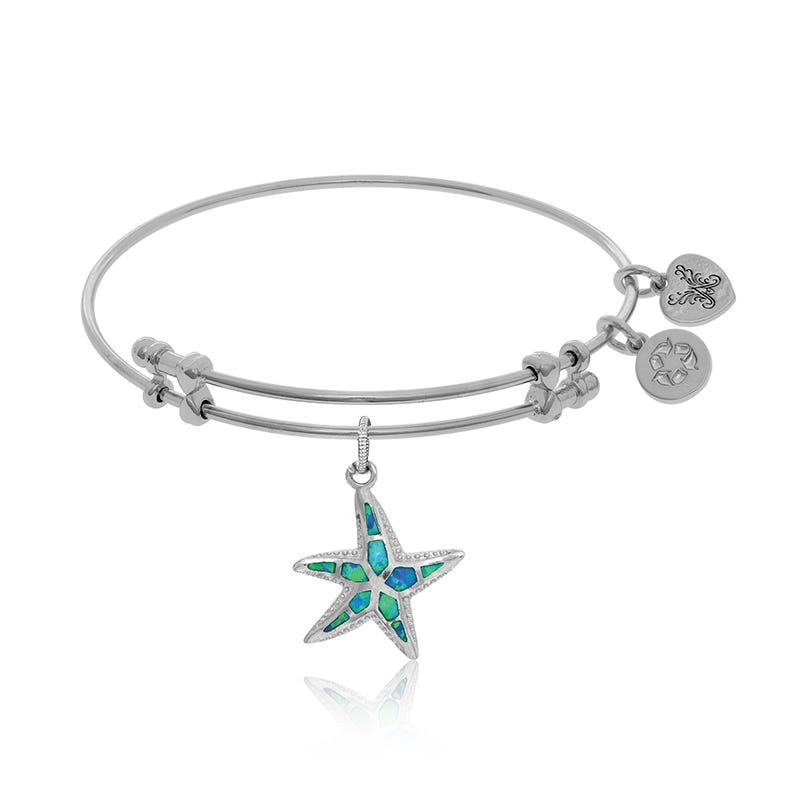 Created Opal & Crystal Starfish Charm Bangle Bracelet in White Brass