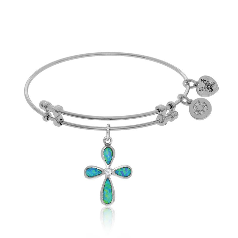 Created Opal & Crystal Cross Charm Bangle Bracelet in White Brass