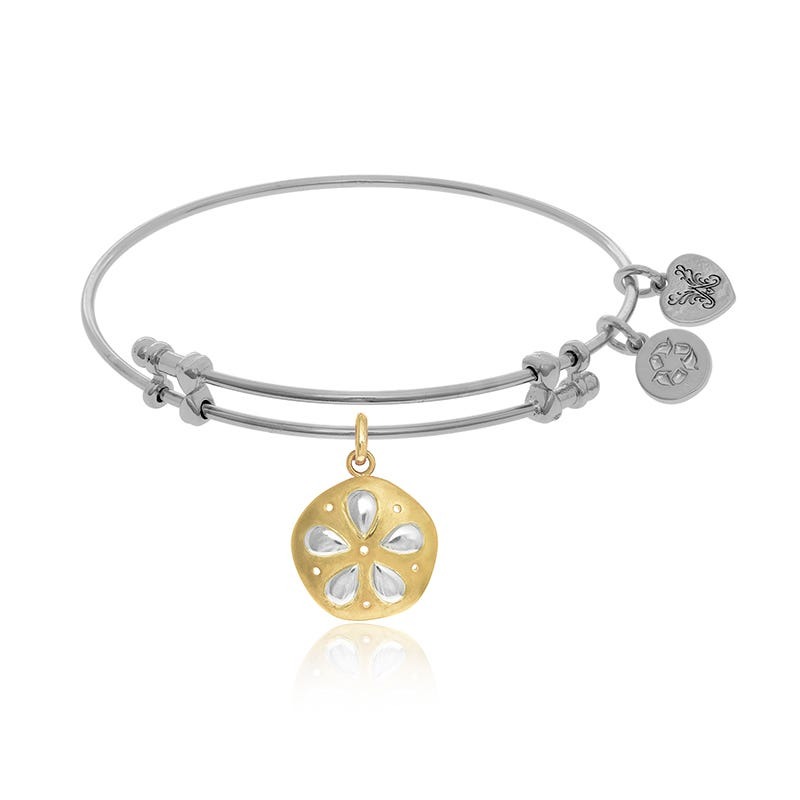 Yellow & White Sand Dollar Charm Bangle Bracelet in White Brass
