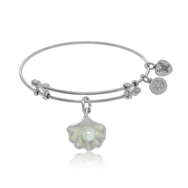 Pearl Shell Charm Bangle Bracelet in White Brass