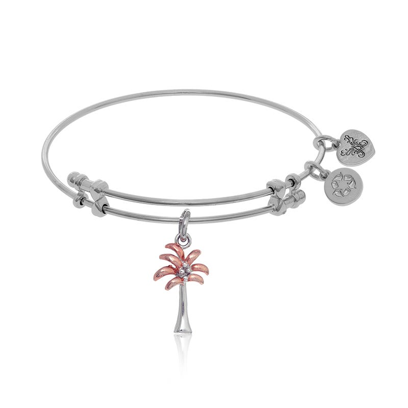 Pink & White Palm Tree Charm Bangle Bracelet in White Brass