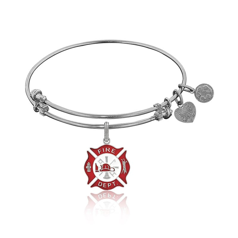 Firefighter Charm Bangle Bracelet in White Brass