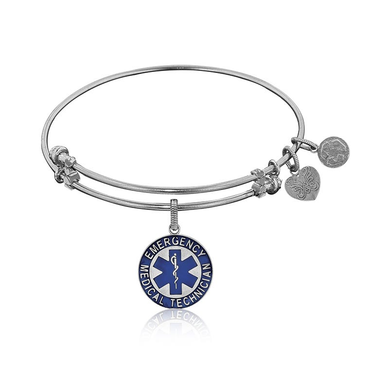 EMT Charm Bangle Bracelet in White Brass