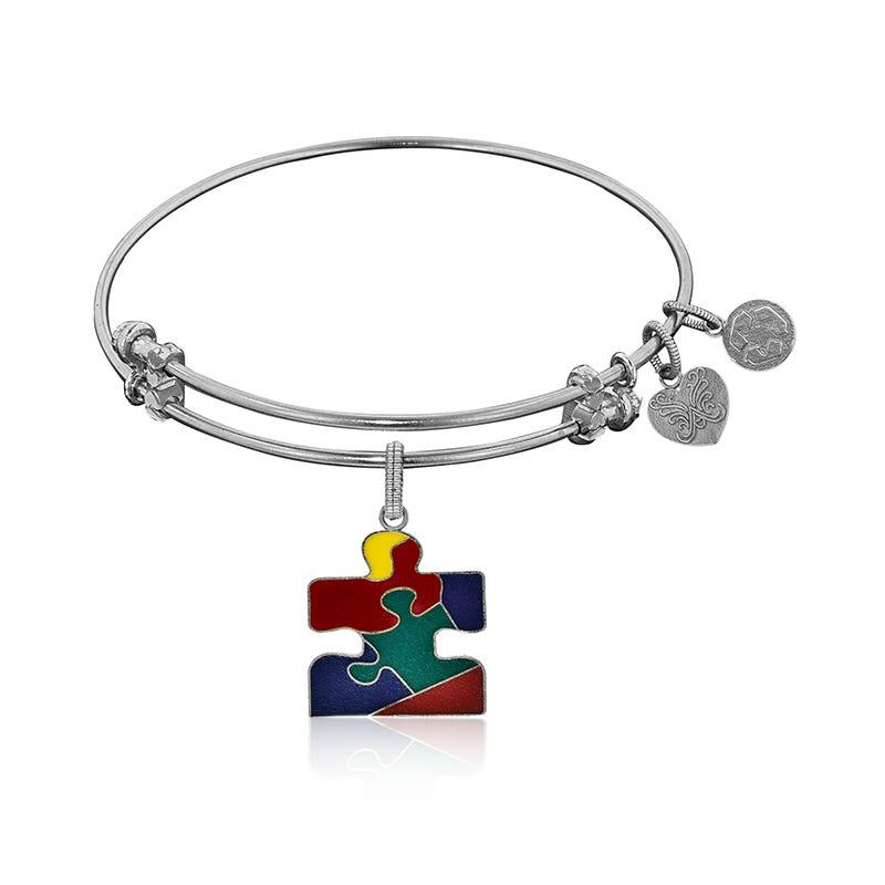 Autism Awareness Charm Bangle Bracelet in White Brass