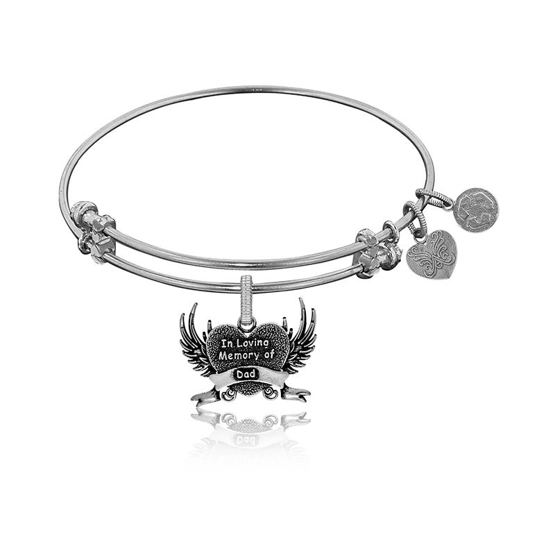 In Loving Memory Dad Charm Bangle Bracelet White Br