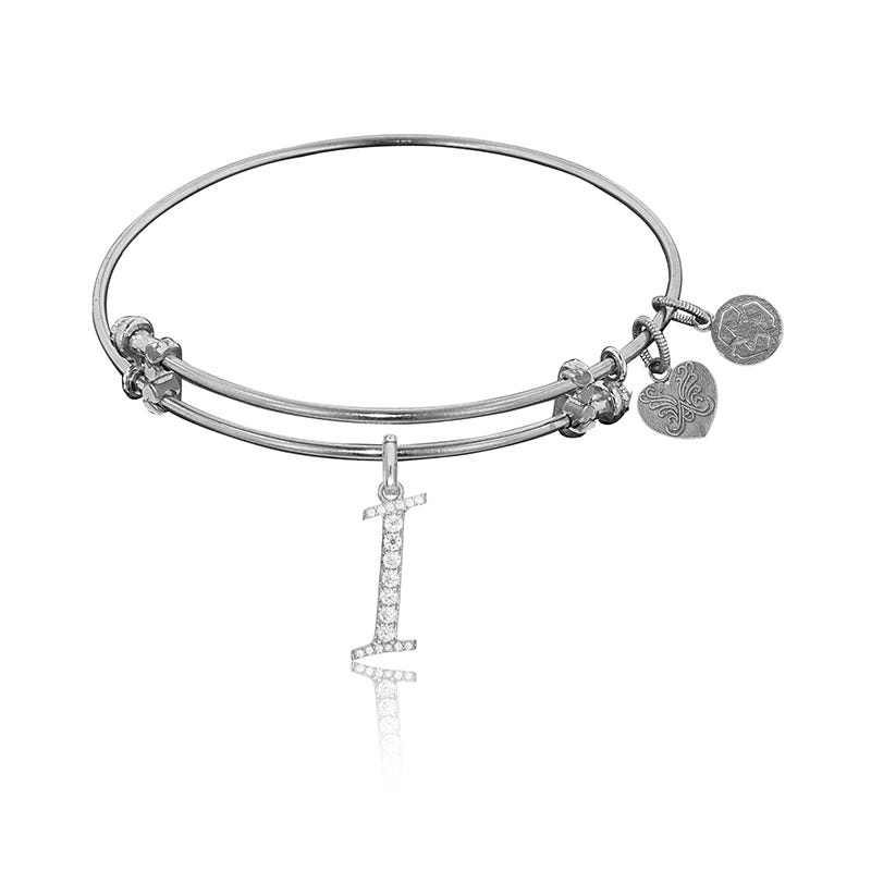 Initial I Crystal Charm Bangle Bracelet in White Brass