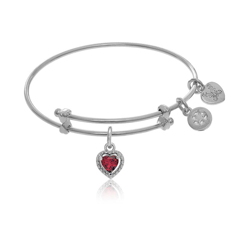 July Birthstone Heart Crystal Tween Charm Bangle Bracelet in White Brass