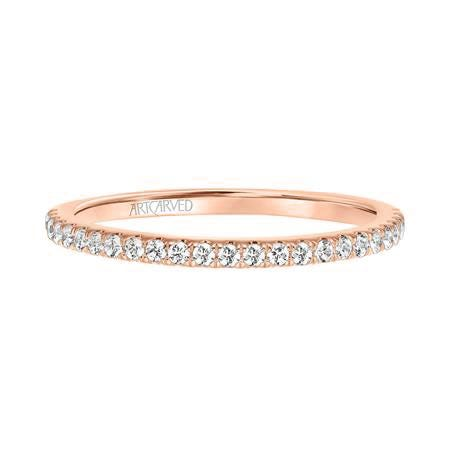 Sybil. ArtCarved Diamond Wedding Band in 14k Rose Gold