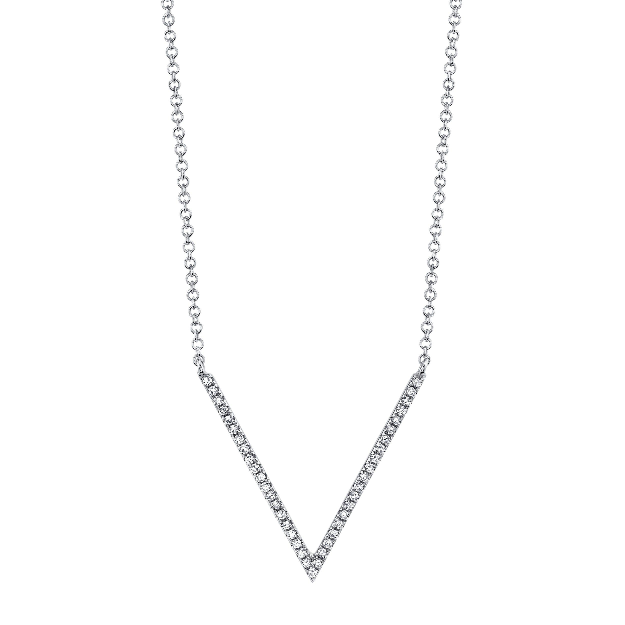 Shy Creation: Diamond V-Shape Necklace 14k White Gold