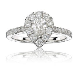 Gemma. Diamond 1+ctw. Pear Halo Engagement Ring in 14k White Gold
