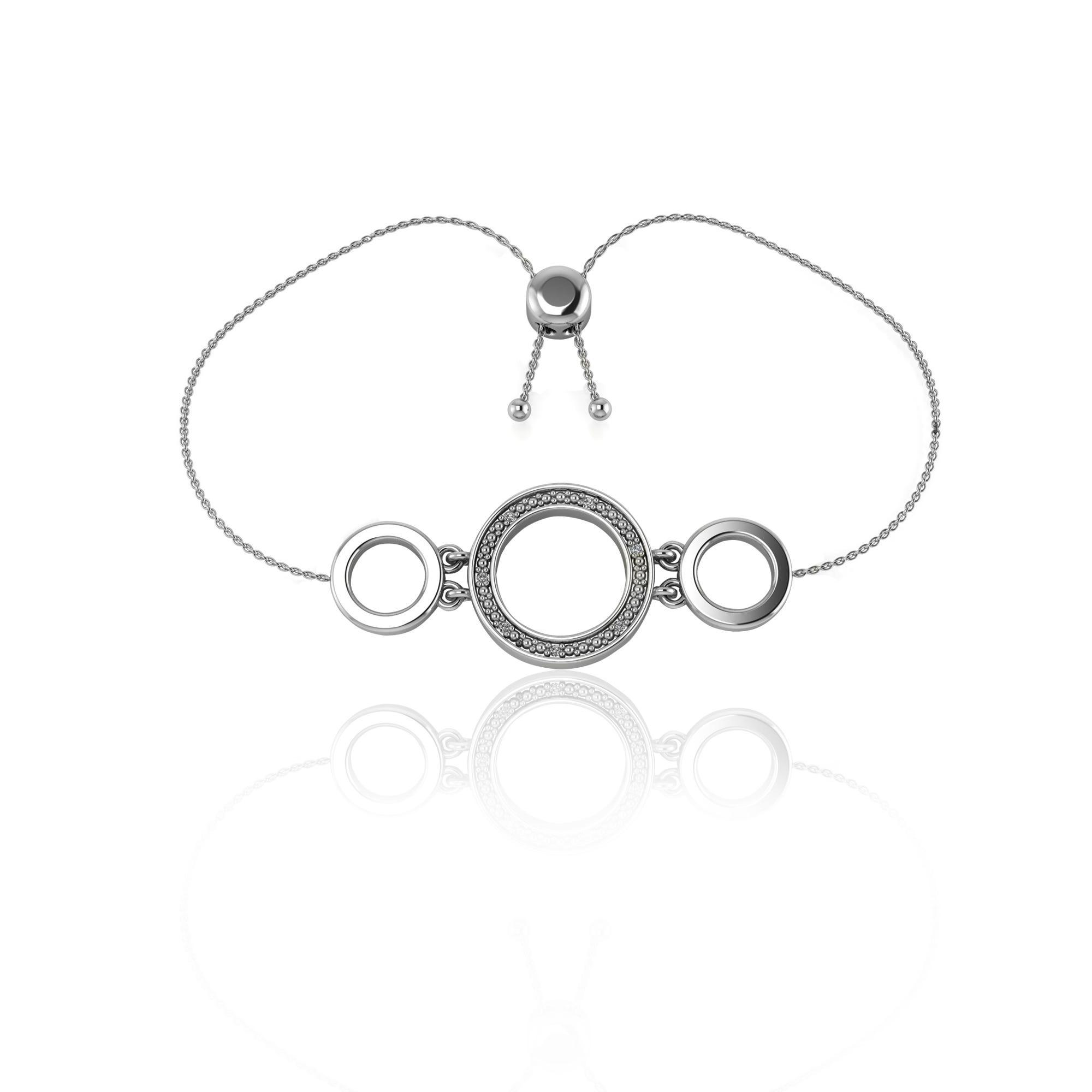 Triple Circle Diamond Fashion Bolo Bracelet in Sterling Silver
