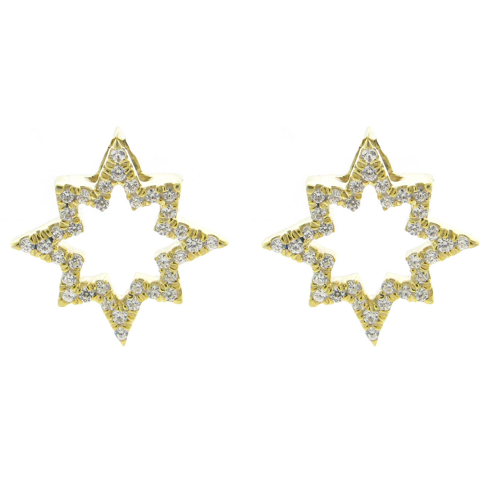 Open Diamond 1/4ctw. Starburst Stud Fashion Earrings in 10k Yellow Gold