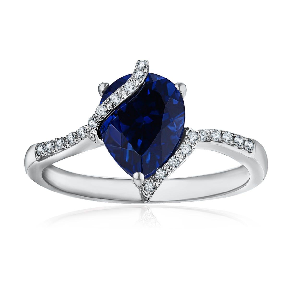 Pear Shaped Diamond Sapphire Swirl Ring in 10k White Gold