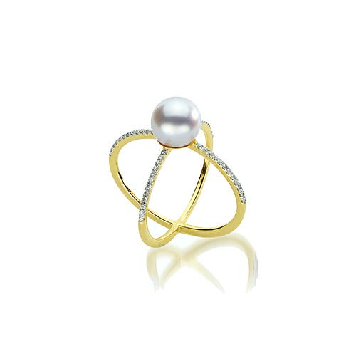 Freshwater Pearl & Diamond 'X' Fashion Ring in 10k Yellow Gold