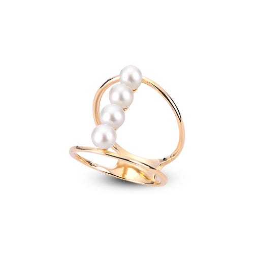 Freshwater Pearl Row Open Shank Ring in 10k Yellow Gold