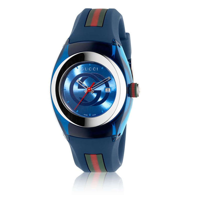 750b67fda00 Gucci Sync Unisex Swiss Blue and Red Rubber Strap Watch 36mm YA137304