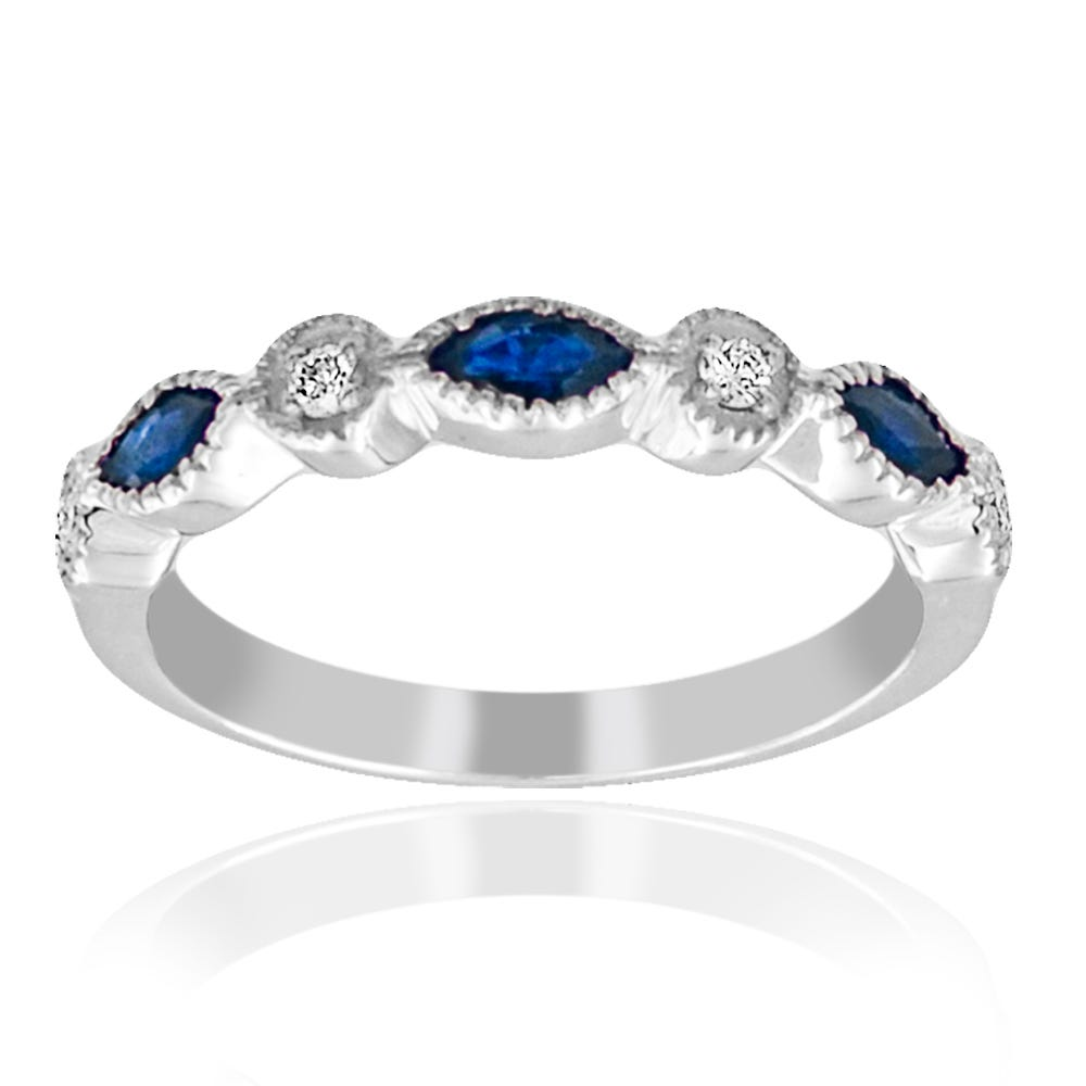 Sapphire & Diamond Alternating Marquise Shape Stackable Band in 14k White Gold