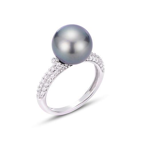 Tahitian Pearl & Diamond Shank Ring in 10k White Gold