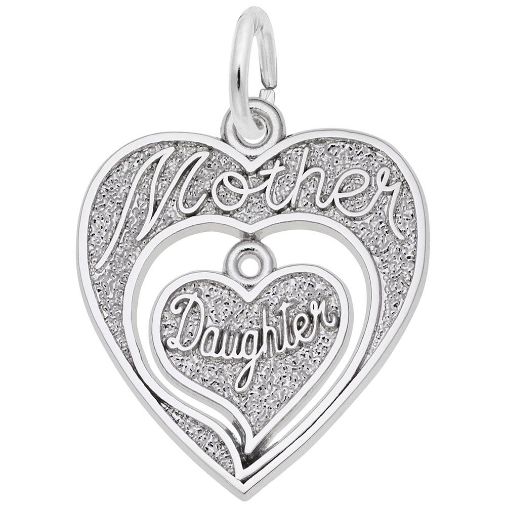Mother Daughter Charm in 14K White Gold