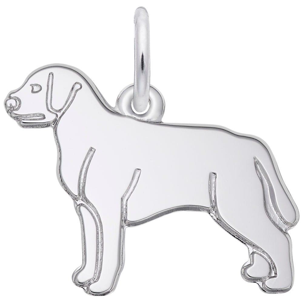 Labrador Retriever Charm in 14K White Gold