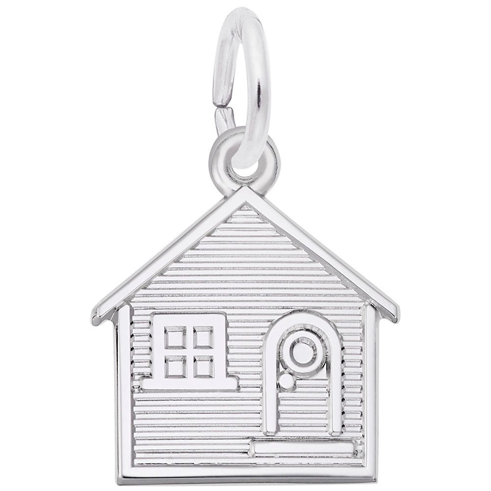 House Charm in 14K White Gold