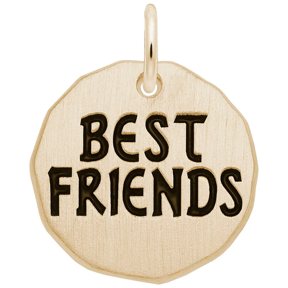 Best Friends Charm Tag in 14K Yellow Gold
