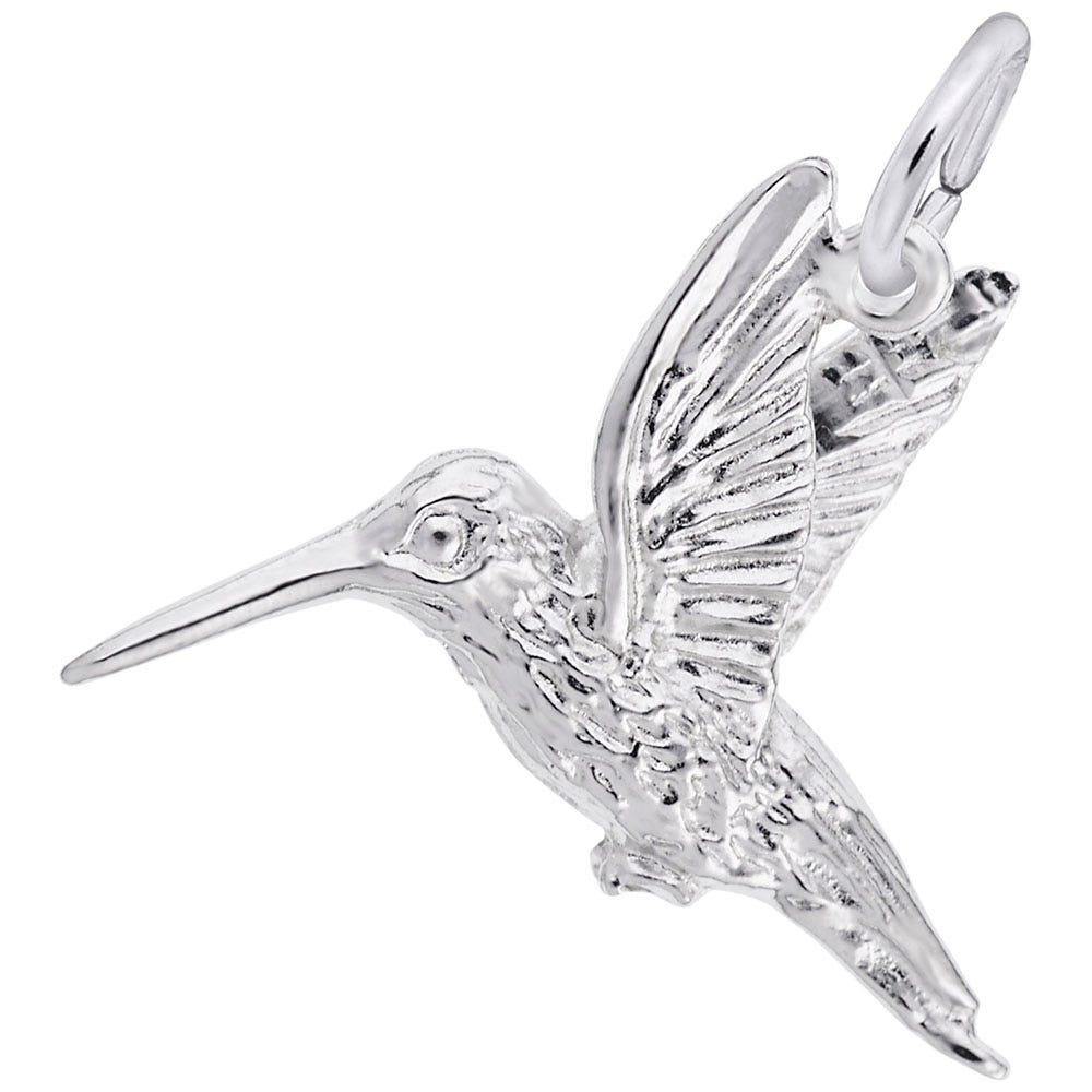 Hummingbird Charm in 14K White Gold