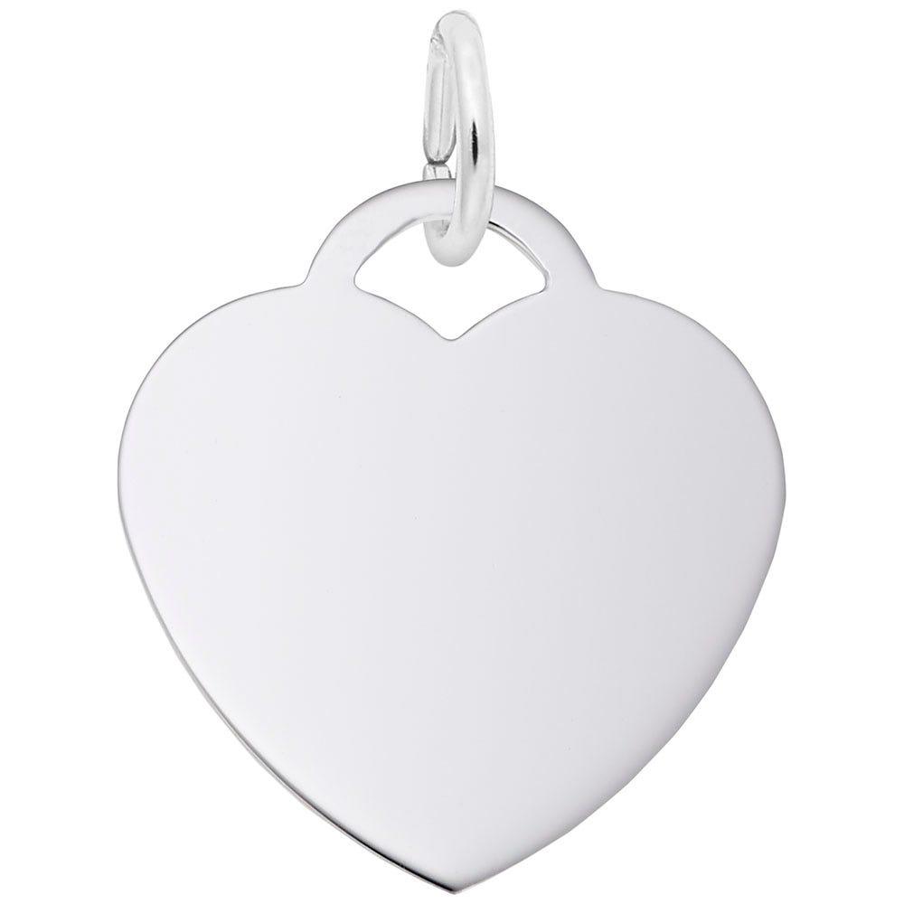 Medium Heart Charm in 14K White Gold