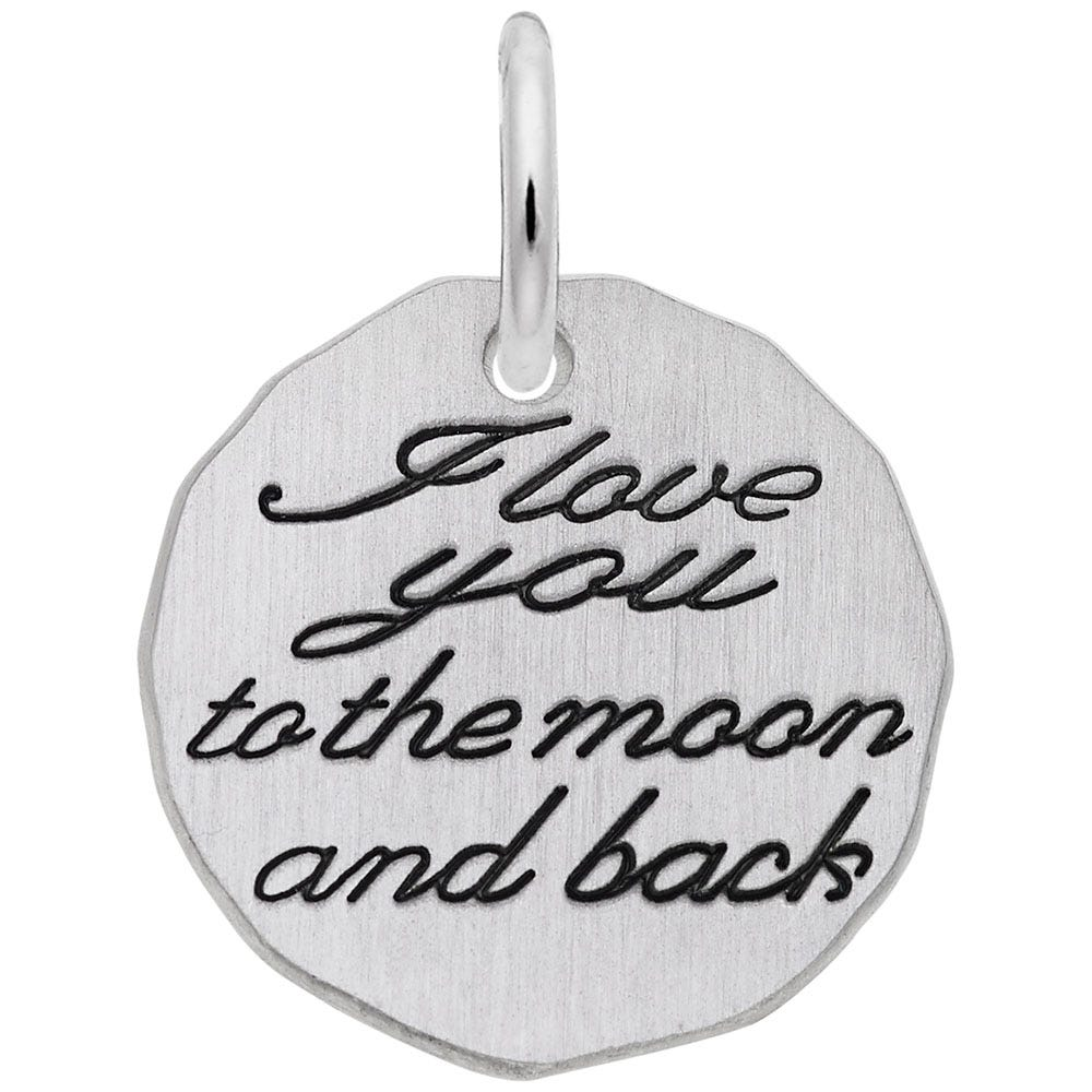 I Love You, Moon & Back Charm in 14K White Gold