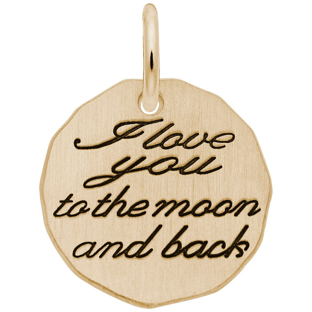 I Love You, Moon & Back Charm in 14K Yellow Gold