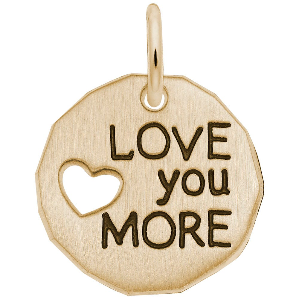 Love you More Charm in 14K Yellow Gold