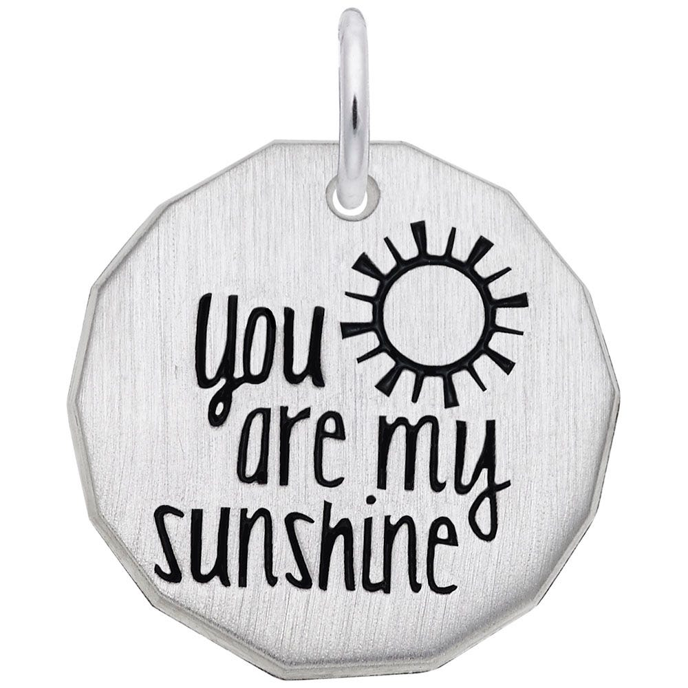 You Are My Sunshine Charm in 14K White Gold