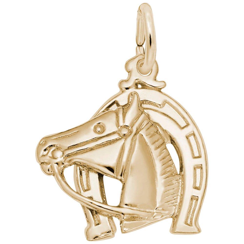 Horse & Horseshoe Charm in 14K Yellow Gold