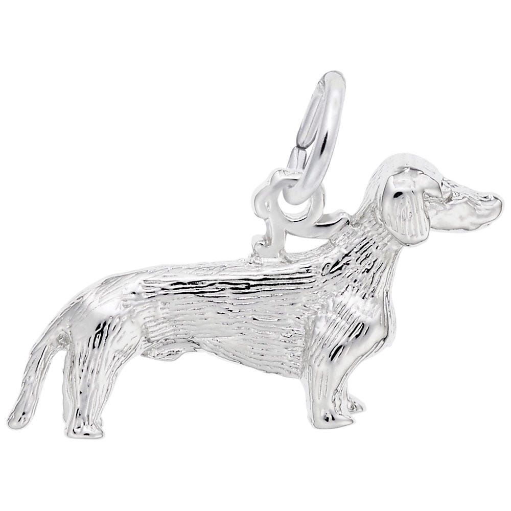 Dachshund Charm in 14K White Gold