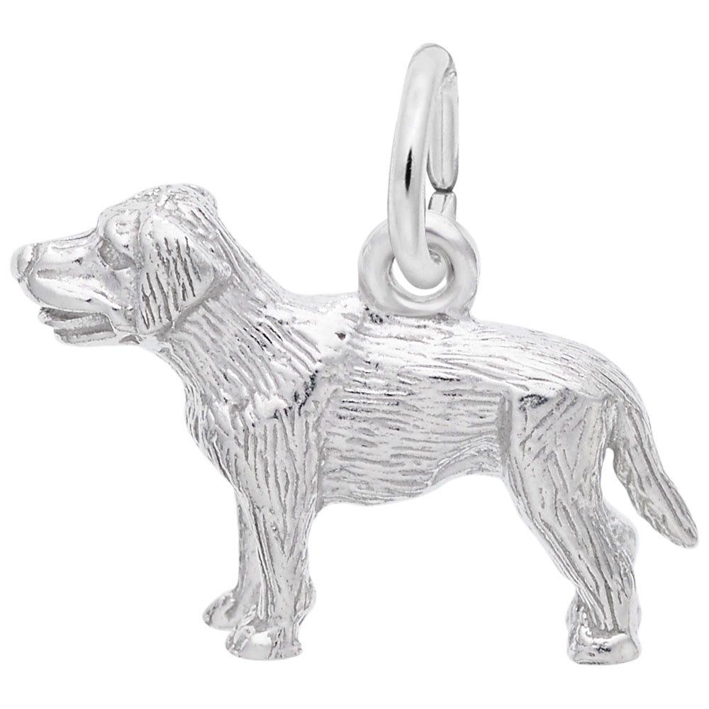Labrador Puppy Charm in 14K White Gold