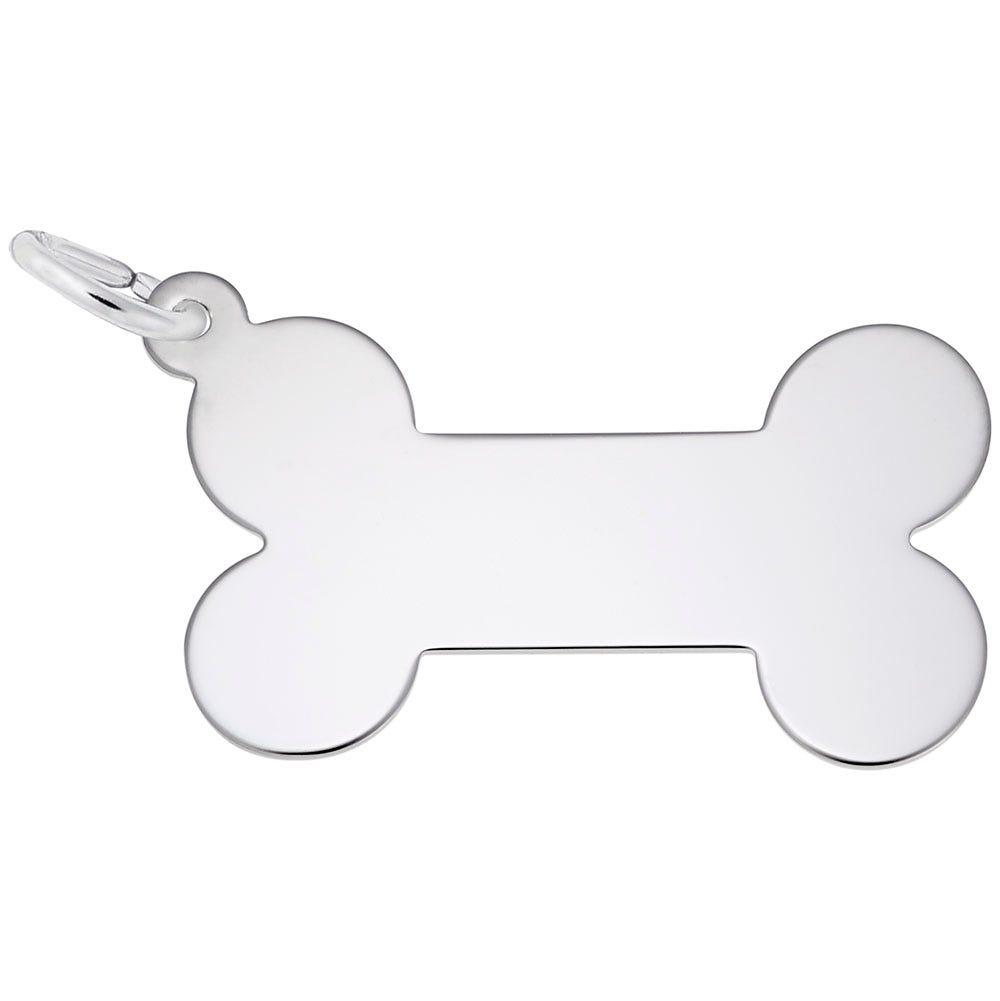 Dog Bone Charm in 14K White Gold