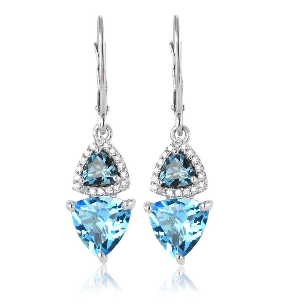 London Blue & Swiss Blue Topaz Diamond Drop Earrings in 10k White Gold