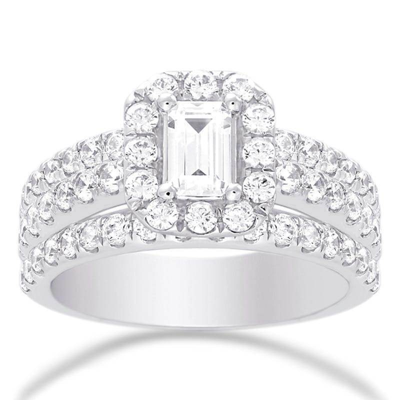 Alysia. Emerald-Cut Diamond Halo Engagement Ring in 14k White Gold