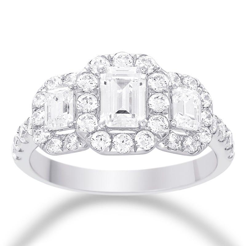 Naida 3 Stone Emerald Cut Diamond Halo Engagement Ring In 14k White Gold