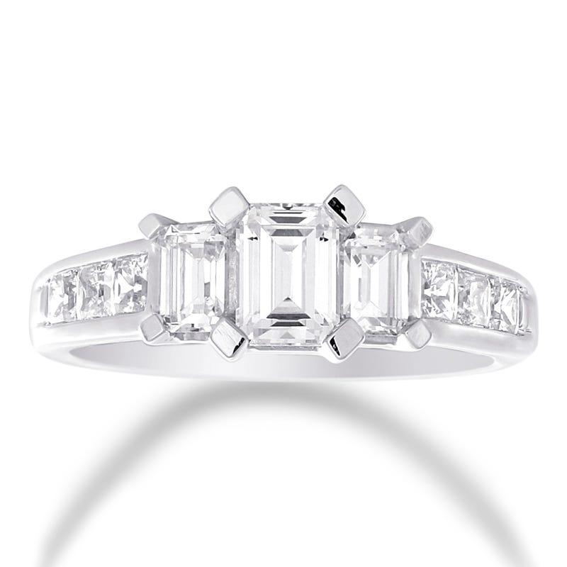 Adara. 3-Stone Emerald-Cut Diamond Engagement Ring in 14k White Gold