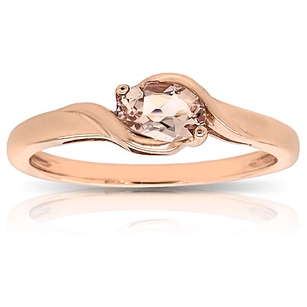 Oval Morganite Ring in 14k Rose Gold