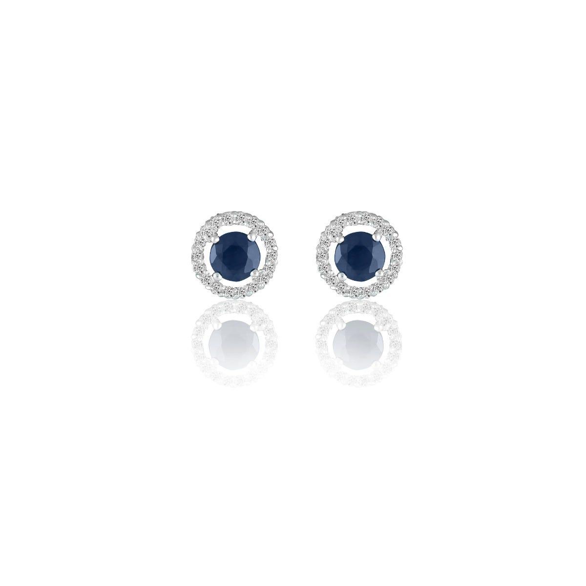 Sapphire & Diamond Halo Stud Earrings in 14k White Gold