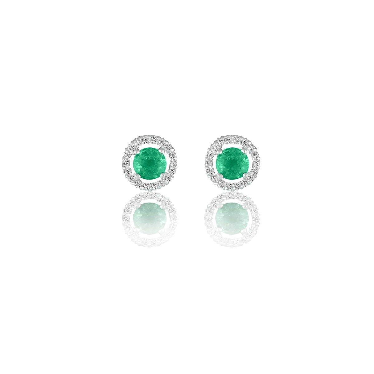 Emerald & Diamond Halo Stud Earrings in 14k White Gold