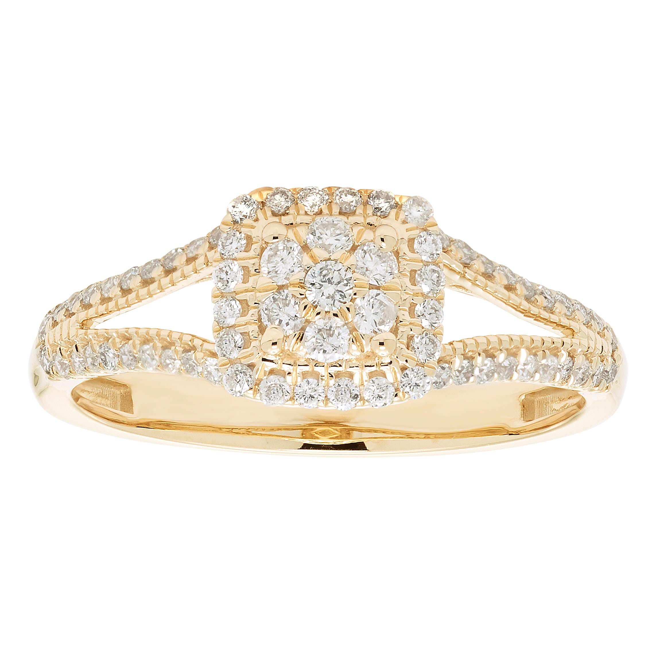 Diamond Halo Cluster Split Shank Promise Ring in 10k Yellow Gold