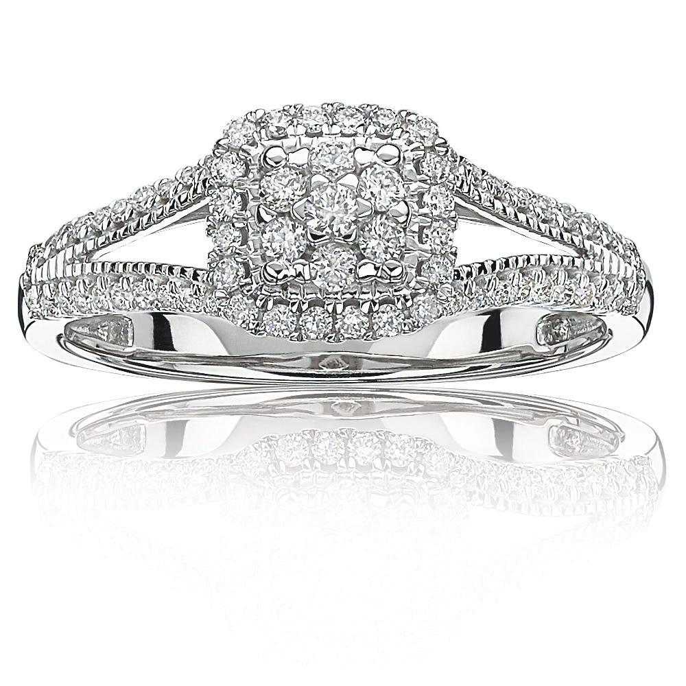 Diamond Halo Cluster Split Shank Promise Ring in 10k White Gold
